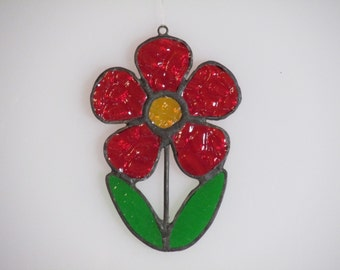 Stained Glass Red and Amber Flower Suncatcher