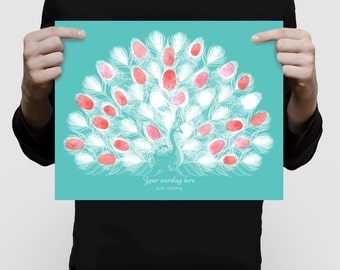 peacock wedding fingerprint guest book print - customised baby shower or  birthday, stylised bird feathers, engagment personlaized