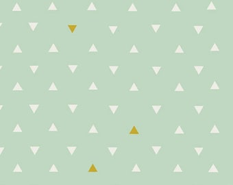 "Arizona Fabric - Art Gallery ""Triangle Tokens Metallic"" by April Rhodes. Mint Green with Gold Geometric - 100% premium cotton. ARZ-554"