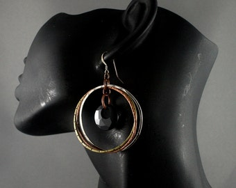 Mother of the bride earrings. Copper, silver, brass and black Swarovski crystals. Big circle earrings