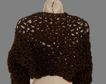 Brown Shrug, Long Sleeve Shrug, Chunky Shrug, Wool Shrug, Brown Bolero, Plus Size Shrug, Womens Plus Size, Shrugs Boleros, Thick Shrug