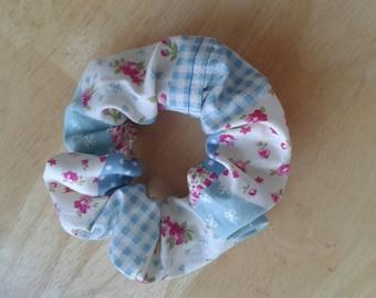 Cute, practical blue patchwork scrunchie