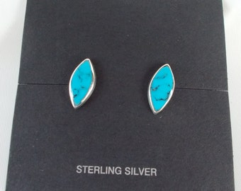 Turquoise and Sterling Silver .925 Marquis Stud Post Earrings