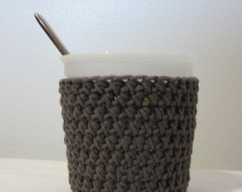Ice Cream Cozy Pint Cover - Rustic Grey Cotton Cup Cozy - Ready To Ship!
