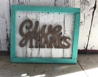Upcycled Give Thanks sign
