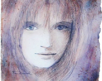 the girl with a naughty look,  watercoloured drawing  30x30cm- 600gr Arches paper