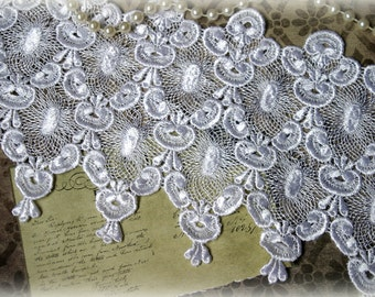 """Wide Venice Lace Trim for Bridal, Altered Art, Costumes, Lace Jewelry, Dresses, Sashes, Sewing, Crafts approx. 6.75"""" GL-135"""