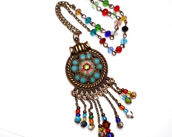 Colorful Long Beaded Pendant Necklace Funky Bohemian Boho Jewelry FREE SHIPPING