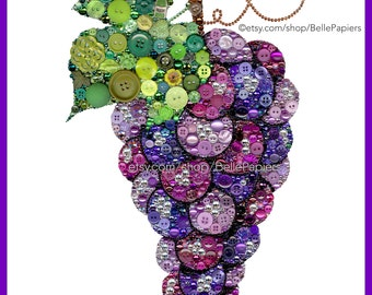 Grape Decorations | Gift for Wine Lover | Button Art Grapes | Red Wine Wall Art | Grapevine Wine Rack Art Swarovski Art Button & Swarovski
