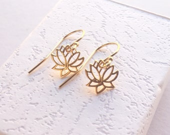 Gold Lotus Earrings, Lotus Jewellery, Gifts for Her,Buddhist Jewellery, Gifts under 25, Yoga Gifts, Gifts for Her, Spiritual Jewellery