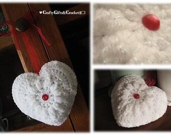 White Sparkle Crochet Heart