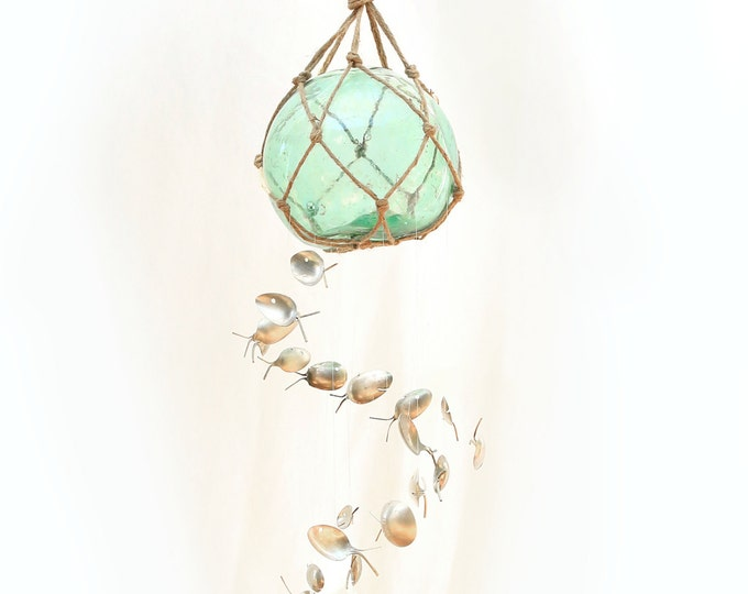 Xxl Vintage Glass Buoy Float Fish Chime, Japanese Fishing Net Buoy, Nautical Antique, Handblown Glass Sun Catcher, Stained Glass, Wind Chime