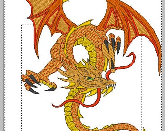 Dragon large embroidery design