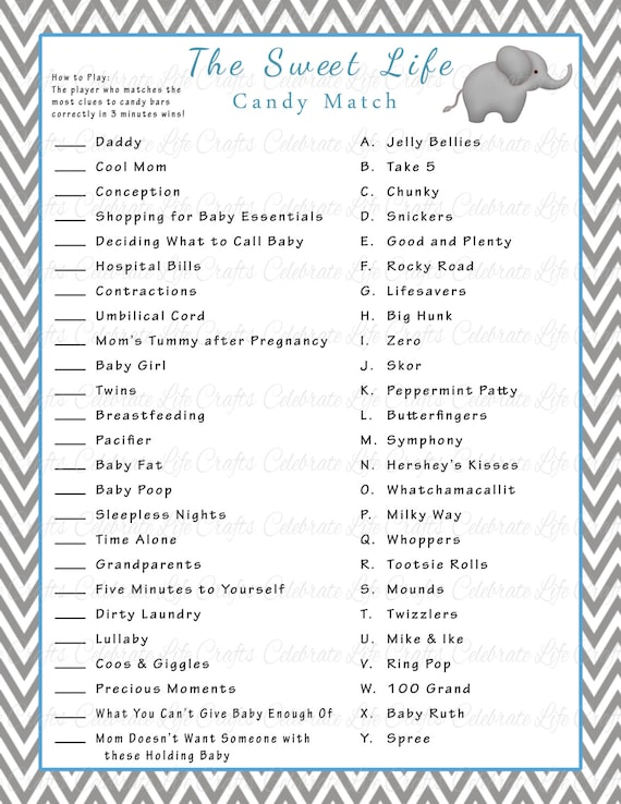 High Quality Baby Shower Sweet Life Candy Bar Match Game Printable Baby