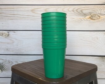 10 Blank Plastic Green 16-Ounce Stadium Cups, Blank DIY Cups, DIY Personalized Cups