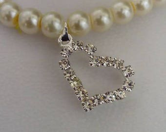 ivory party bag bracelets with diamante heart charm x5