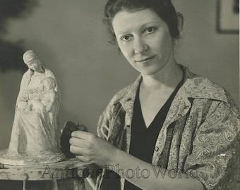 Woman sculptor artist in studio sculpture antique photo