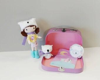 Accessory Suit Case for Studio Pocket Doll - Handmade, Dollhouse, Carry Bag, Gift, Children, Girl