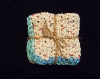 TWO Cotton Wash Cloths, Cotton Dish Cloths, Eco-Friendly Wash Cloth, Gifts Under 10, 100% USA Cotton, Gifts For Her