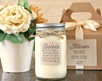 Sister Gift Candle / Personalized Sister Gift / 16 oz Soy Candle  / Personalized Gift for her / Sisters are like angels /