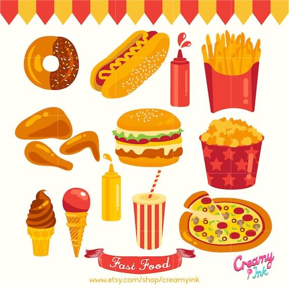Party Food Digital Vector Clip art / Fast Food Digital Clipart   Adults Clipart Party Snacks