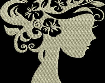 Lady Silhouette Machine Embroidery Design