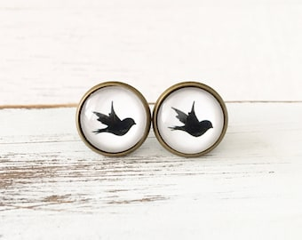 Black Sparrows Earrings - Antique Bronze Studs - Hypoallergenic Earrings - Glass Earrings - Gift for Her - Surgical Steel Earrings
