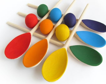 Easter gift - Gift for baby - Wooden Rainbow SPOONS EGGS - Balancing Game - 6 Easter eggs & spoons - Play Food - Waldorf - Montessori Toy