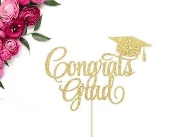 Congrats Grad Cake Topper   Graduation Cake Topper   2017 Grad Cake Topper   Graduation Party Decor   2017 Cake Topper   Glitter Grad Topper
