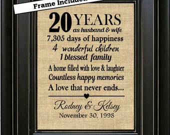 FRAMED Personalized 20th Anniversary Gift/20th Wedding Anniversary Gifts/20 years of Marriage/Anniversary Gifts for men/Gifts for couple