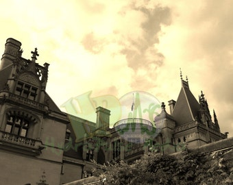 Gothic Mansion Printable Scrapbook Sheet Old Sunset Photograph Biltmore Estate Photo Creepy Spooky Halloween Decorations Journal Album Cover