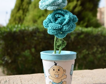 Baby Boy painted Terra Cotta clay Pot with 2 Crochet Flowers Egyptian Handmade new born birthday Gifts