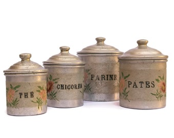 Shabby French Kitchen Canister Set. Vintage French Aluminum Kitchen Containers. Flour Canister.