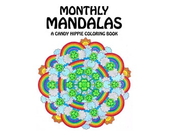 Monthly Mandalas Coloring Book - printable adult coloring pages for adults and big kids - a mandala for each month - holiday