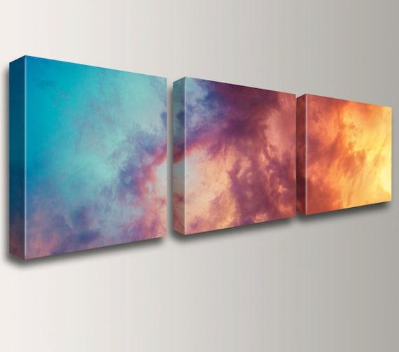"Canvas Triptych - 3 Panel Art - Wall Art Grouping - Unique Decor - Canvas Gallery Wraps - Photo Split - ""Atmosphere"""