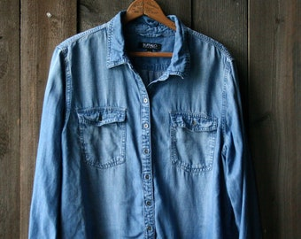 Denim Long Sleeved Shirt Jeans Shirt Light Weight Summer Buffalo Vintage From Nowvintage on Etsy