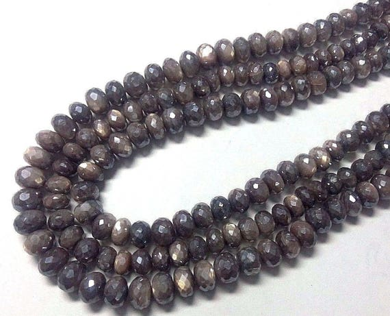Black Moonstone Mystic Diamond Coated Faceted Roundel Beads 7