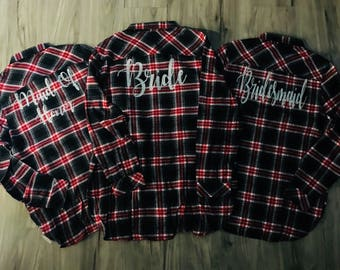 Bridal Flannels Flannels Red Black Buffalo Plaid Women's Flannels Womens Bridal Party Flannels Wedding Day Flannels Bride