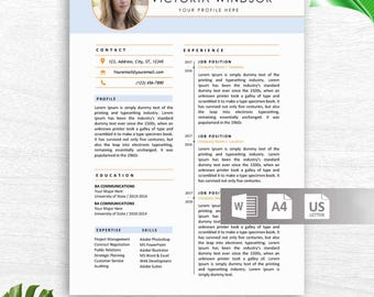 Modern Resume Template & Cover Letter, Icon Set for Microsoft Word, 2 Page Resume, Professional CV, Instant Download, Mac + PC