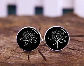 Lotus Flower Cufflinks, Buddhist Holy, Lotus Cufflinks, Custom Flower Cufflinks, Custom Wedding Cufflinks, Groom Cufflinks, Tie Bars, Or Set