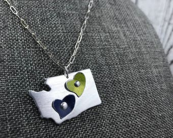 Recycled Tin and Aluminum Seattle Seahawk Inspired Neclace