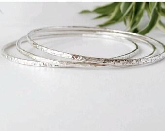 Sterling Silver Bracelet, Bangle. Stackable bangles set of 3. Textured.