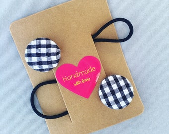 Black and white gingham button hairties - checked monochrome