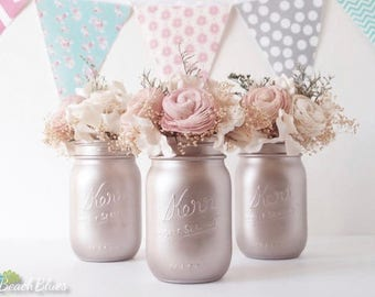 Blush Wedding Decor / Rose Gold / Silver champagne / Painted Mason Jars / Vase / Centerpiece / Table Decor / Romantic wedding / 3 pints jars