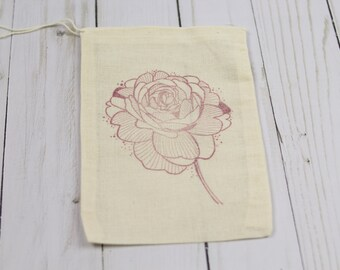 Set of 10 Hand Stamped Rose Floral Party Muslin Drawstring Bags