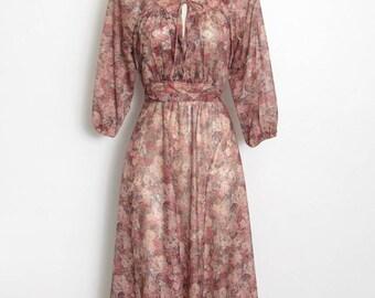 Boho Floral Dress / Sheer Desert Rose Pink & Grey Floral Print / Tie Back / Vintage 70s Romantic Festival Dress