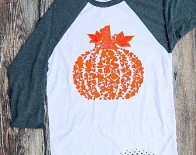 pumpkin halloween T-shirt Adult Raglan Baseball Tee  Vinyl Unisex Cotton disney character pumpkin