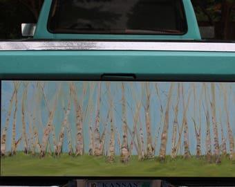 Birch Tree Painting Original Oil Painting Jill Opelka Original Artwork Blue Sky Green Grass Trees Bark White Birch Tree Fine Art