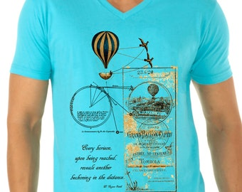 travel shirt - photographer shirt - travel gifts - mens tshirts - hiking shirt - steampunk clothing -vacation tshirt- EVERY HORIZON - v-neck
