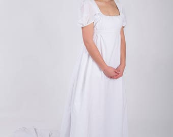 White Cotton Regency Dress and Stays